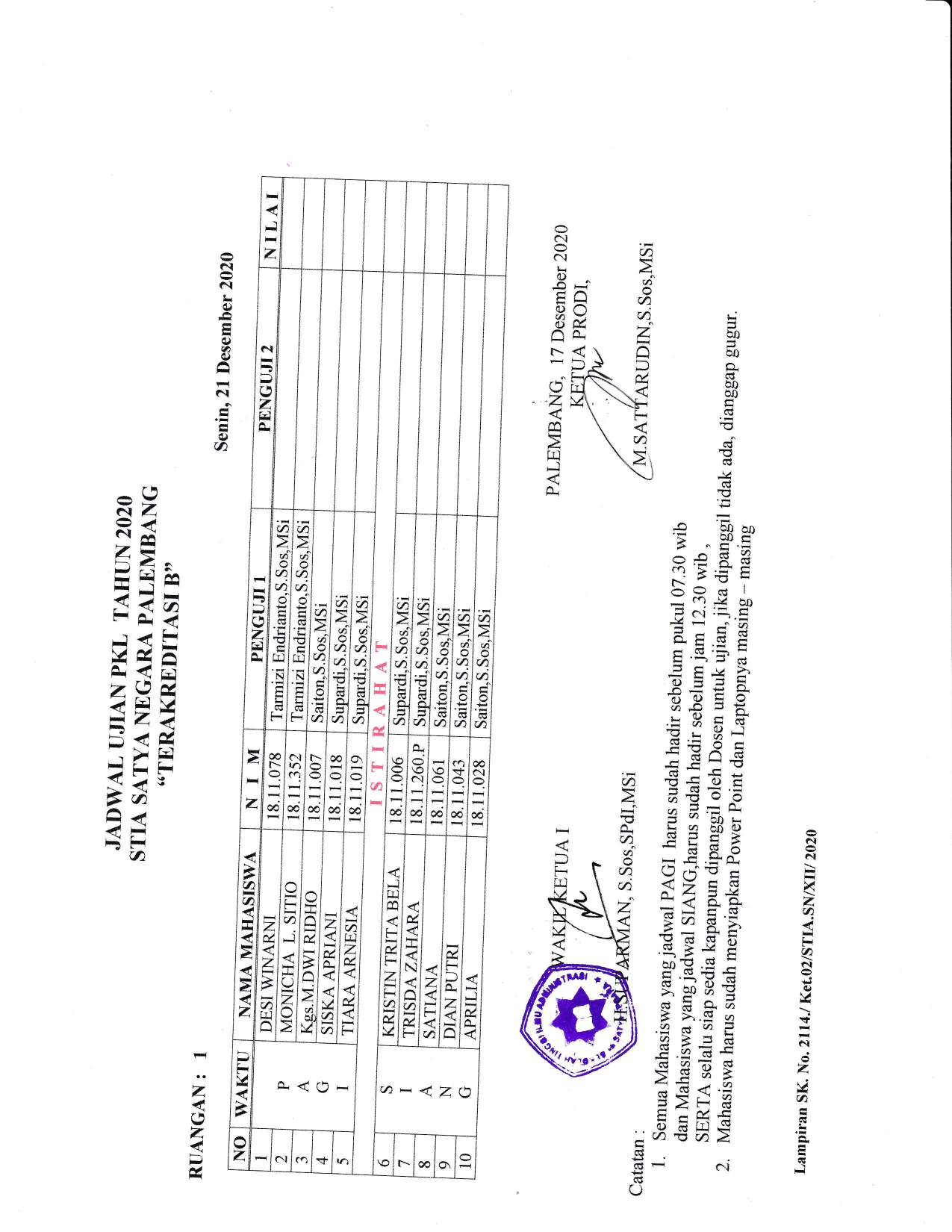 Ujian PKL tanggal 211