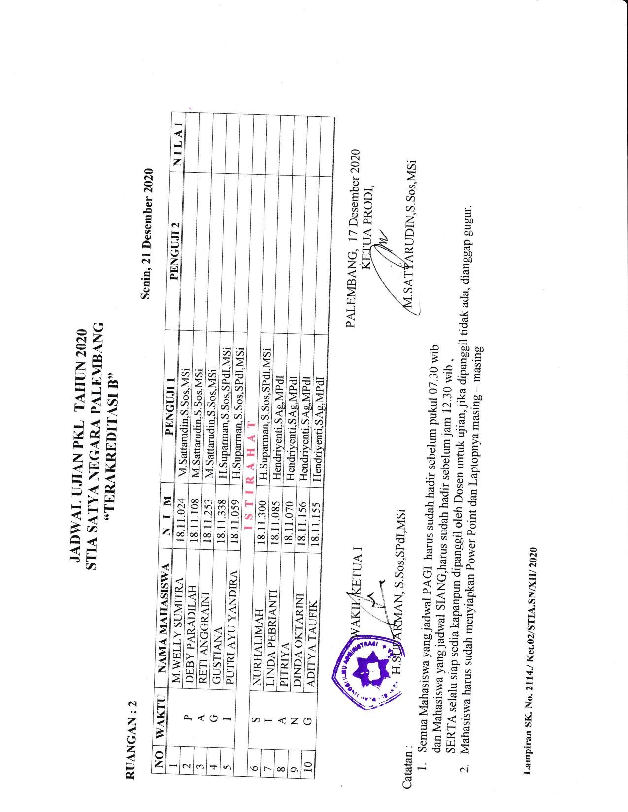 Ujian PKL tanggal 212